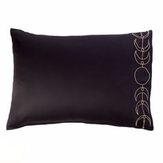 The hems of these black pillow cases are adorned with a gold tone embroidered design of the moon phase. Maiden, Mother and Crone - Full Moon, Waxing, Waning, New Moon. Rinse. Repeat. Designed in colla