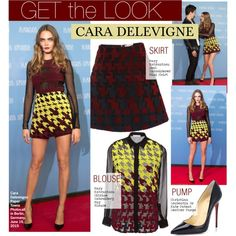 Get the Look -Cara Delevigne by kusja on Polyvore featuring moda, Mary Katrantzou, Christian Louboutin, GetTheLook, caradelevigne and celebstyle