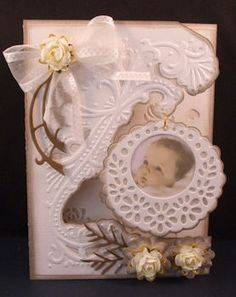 Sweet Baby Card...white with roses.