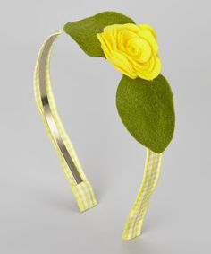 Take a look at this Yellow & Green Gingham Flower Headband by Tressed Up Couture on #zulily today!