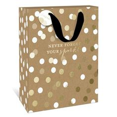 Never Forget Your Sparkle Medium Gift Bag by Graphique de France. A gold polka dot gift bag with an inspiration quote is perfect to house that special gift for your BFF! $3.95