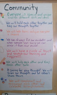 Start building a strong class community the first week of school! Put each item in a small paper bag.  Groups of three or so.  Have them brainstorm how each item can serve as a reminder of how to maintain a strong classroom community.  Their ideas will be incredible.  This poster was created by third graders!