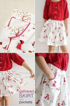<3 Skirt with piped pockets (Free pattern and tutorial- Japanse