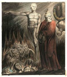 """blackpaint20: """"  Lucifer and the Pope in Hell William Blake c.1805 """""""