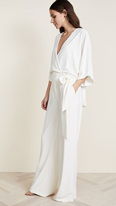 Find and compare Wrap Front Jumpsuit across the world's largest fashion stores! White Jumpsuit Formal, Vacation Style, Vacation Fashion, Bridesmaid Outfit, Halston Heritage, China Fashion, White Outfits, Look Chic, Fashion Lookbook