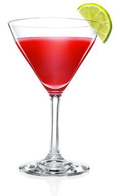 MALIBU Island Cosmo: - 1 deel (50 ml) Malibu- 1/3 deel (15 ml) Absolut Vodka Citron- 1/3 deel (15 ml) limoensap- ½ deel (25 ml) granaatappelsap- Limoenschil- Sinasappelschil