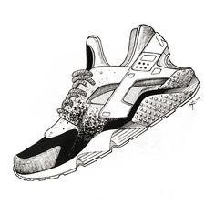 Yoonahbae.com sneaker illustration nike hurache