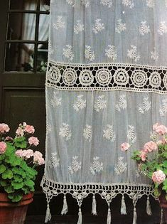 Cream Lace And Crochet Window Curtain