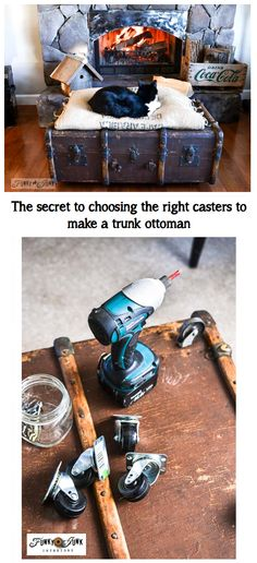 The secret to choosing the right casters to make a cool trunk ottoman even BETTER! via http://www.funkyjunkinteriors.net/