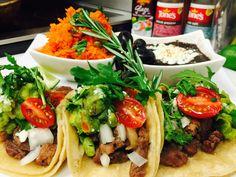 Dinner ready  Tacos de ribeye  Rice / black beans , guaca  Cilantro & cebolla white Deliciosos By Sebascocina