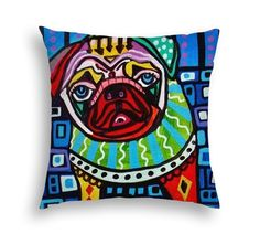 Pug Art Pillow - Pug Lovers Gift by Heather Galler - 5 sizes to choose from