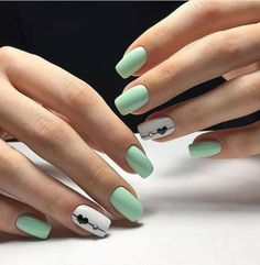 Lovely Early Spring Short Nails Art Design And Colors Ideas - Page 13 of 109 Chic Nails, Stylish Nails, Diy Nail Designs, Acrylic Nail Designs, Green Nail Designs, Hair And Nails, My Nails, Short Nails Art, Pretty Nail Art