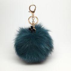 29.95$  Watch here - http://vipxu.justgood.pw/vig/item.php?t=hz7oocn22459 - New! Blue-Green fox fur Pompon bag charm pendant Fur Pom Pom keychain keyring wi