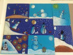 Sneeuwpoppen in het maanlicht. Gemaakt door groep 8 van o.b.s de Wilgenhoek uit Haarlem Winter Art Projects, Projects For Kids, Christmas Writing, Christmas Lunch, Snowmen At Night, Middle School Art Projects, January Crafts, Winter Activities, Art Education