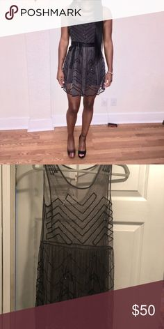 Gray beaded sheer Free People dress Gray Free People Sheer dress with beautiful beading. Perfect condition. Worn once. Free People Dresses Midi