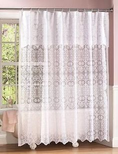Attractive White Lace Elegant Bathroom Shower Curtain W/ Decorative Valance U0026 Liner  ~NEW~