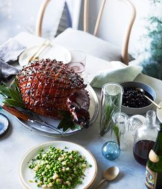 Whiskey-glazed ham with preserved cherries recipe, Analiese Gregory :: Gourmet Traveller