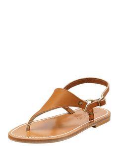 Triton Slingback Flat Thong Sandal, Natural by K. Jacques at Bergdorf Goodman.