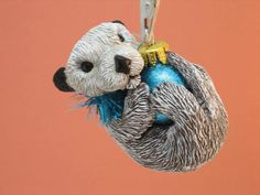 Sea Otter Ornament Keepsake Heirloom Valentine by WhimzyGrimzy