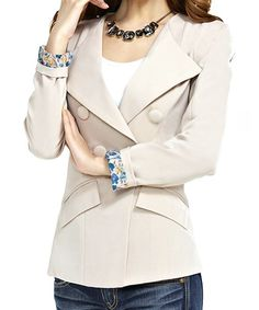 $13.58 Trendy Lapel Neck Long Sleeve Solid Color Double Breasted Blazer For Women
