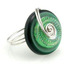 Czech Glass Wire Wrap Button Ring Forest by TrinketsNWhatnots, $25.00 #promofrenzy #jewelry #button ring