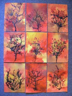 Fall Arts And Crafts, Fall Crafts For Kids, Art For Kids, Autumn Crafts, Kindergarten Art Lessons, Art Lessons Elementary, Autumn Art, Autumn Trees, Fall Art Projects