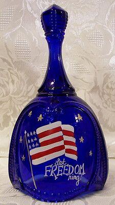 Fenton Glass Cobalt Blue Handpainted 9-11-2001 Stars+ Stripes Bell