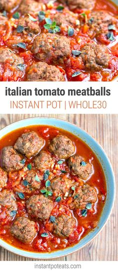 Instant Pot Italian Tomato Meatballs (Paleo, Whole30, Gluten-Free)