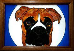 Boxer dog Window Art faux stain glass painted sun catcher pet AKC gift decoration
