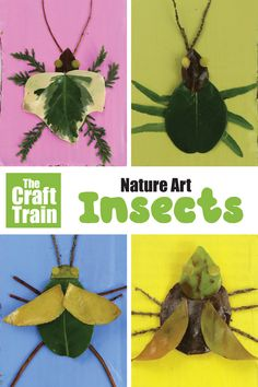 Nature art insects kids can make from leaves and sticks. This is a great outdoor summer activity kids will adore! Get outdoors and go collecting! Then make bright, arty bugs from nature using leaves and sticks. Insect Crafts, Bug Crafts, Leaf Crafts, Insect Art, Fabric Crafts, Forest School Activities, Insect Activities, Nature Activities, Kids Nature Crafts