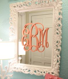 Pretty script wall monogram placed on a mirror! Spiegel Design, E Claire, Do It Yourself Baby, Layout Design, Design Design, Free Design, Monogram Wall, Wooden Monogram, Wooden Initials