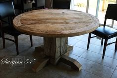 Reclaimed Wood Round Table  www.hdthreshing.com