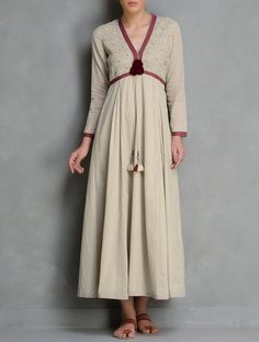 Buy Beige Red V Neck Pintuck & Embroidered Kalidar Cotton Dress by Radha's Daughter Apparel Tops Dresses Online at Jaypore.com