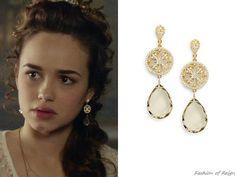 Reign 3x17, Claude wears these Azaara Jewelry lemon quartz openwork drop earrings