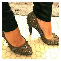 Studded Taupe Pumps