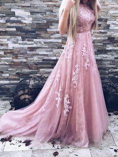 Beautiful Lace Prom Dresses Sweep/Brush Train Prom Dress/Evening Dress JKS103