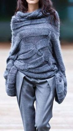 Women's Commuting Pure Color Long Sleeve Loose Sweater Record of Knitting Yarn spinning, weaving and sewing jobs such as BC. Knitwear Fashion, Knit Fashion, Look Fashion, Winter Fashion, Casual Tops, Casual Shirts, Casual Outfits, Scarf Outfits, Dress Outfits