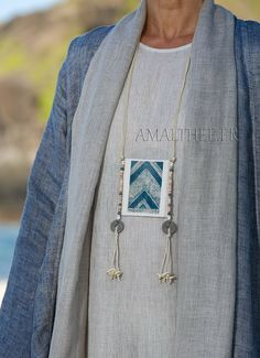 Ethnic textile necklace -:- AMALTHEE -:- n° 3404 #indigo