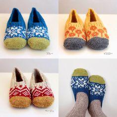 Colourful knitted slippers - a bit fair Isle, a bit folk art.