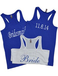 Wedding Party SET of 3 Tank Tops with Wedding Date