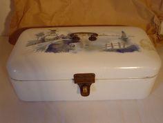 Vintage alter Brotkasten 50er Jahre Emaille shabby