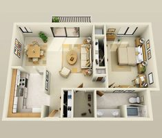 1 Bedroom Apartment/House Plans With 960 square feet of living space, this one bedroom and one bathroom oasis is perfect. 3d House Plans, Modern House Plans, Small House Plans, Apartment Layout, 1 Bedroom Apartment, One Bedroom, Apartment Ideas, Bedroom Ideas, Bedroom Simple