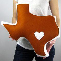 Customizable Texas State Pillow. $58.50, via Etsy.