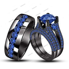 5.50 Ct Blue Sapphire Black GP Trio Wedding /Engagement Ring Set in Silver…