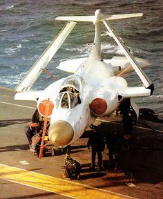 Blackburn Buccaneer S1, dressed in anti-radiation white coat aboard HMS Hermes…