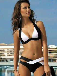 Fashion Swimwear Women Bikini Set Color Block Halter Cross Strap Push Up Bikini Padded Sexy Swimsuits Bathing Suit Plus Size Sexiest Clothes Like Lingerie