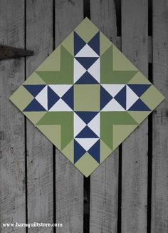 Painted Wood Barn Quilt Wyoming Valley by TheBarnQuiltStore--Love the blue & green! Barn Quilt Designs, Barn Quilt Patterns, Pattern Blocks, Quilting Designs, Wood Patterns, Star Quilt Blocks, Star Quilts, Scrappy Quilts, Painted Barn Quilts