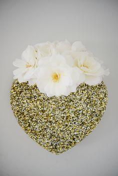 glittery heart wall vase