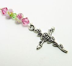 Silver Tone Cross with Rose Car Charm by CarCharmShop