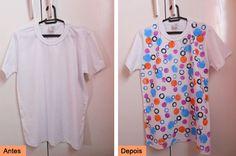 DIY T-shirt with stamps  See more here: http://customizando.net/como-customizar-camiseta-com-carimbos-improvisados/